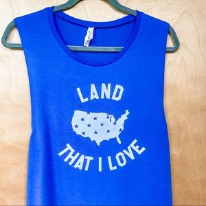 American Flag Land I Love Blue Muscle Tank Large